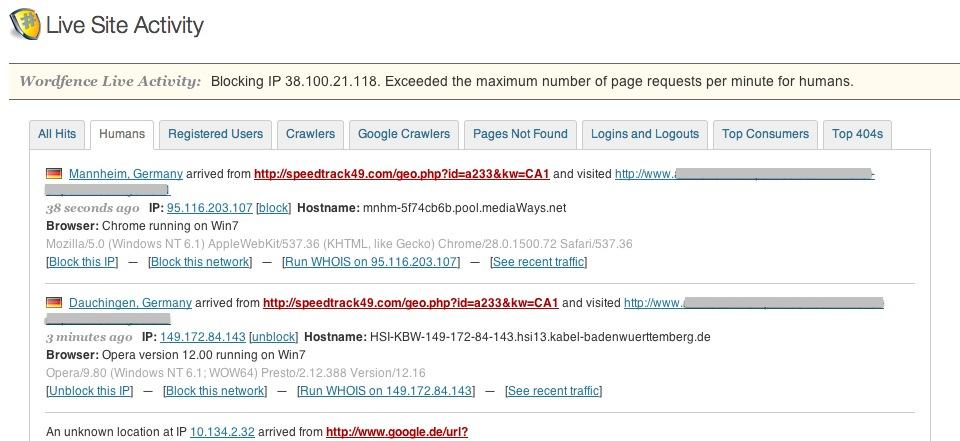 IP Adressen sperren mit WordPress Plugin Wordfence
